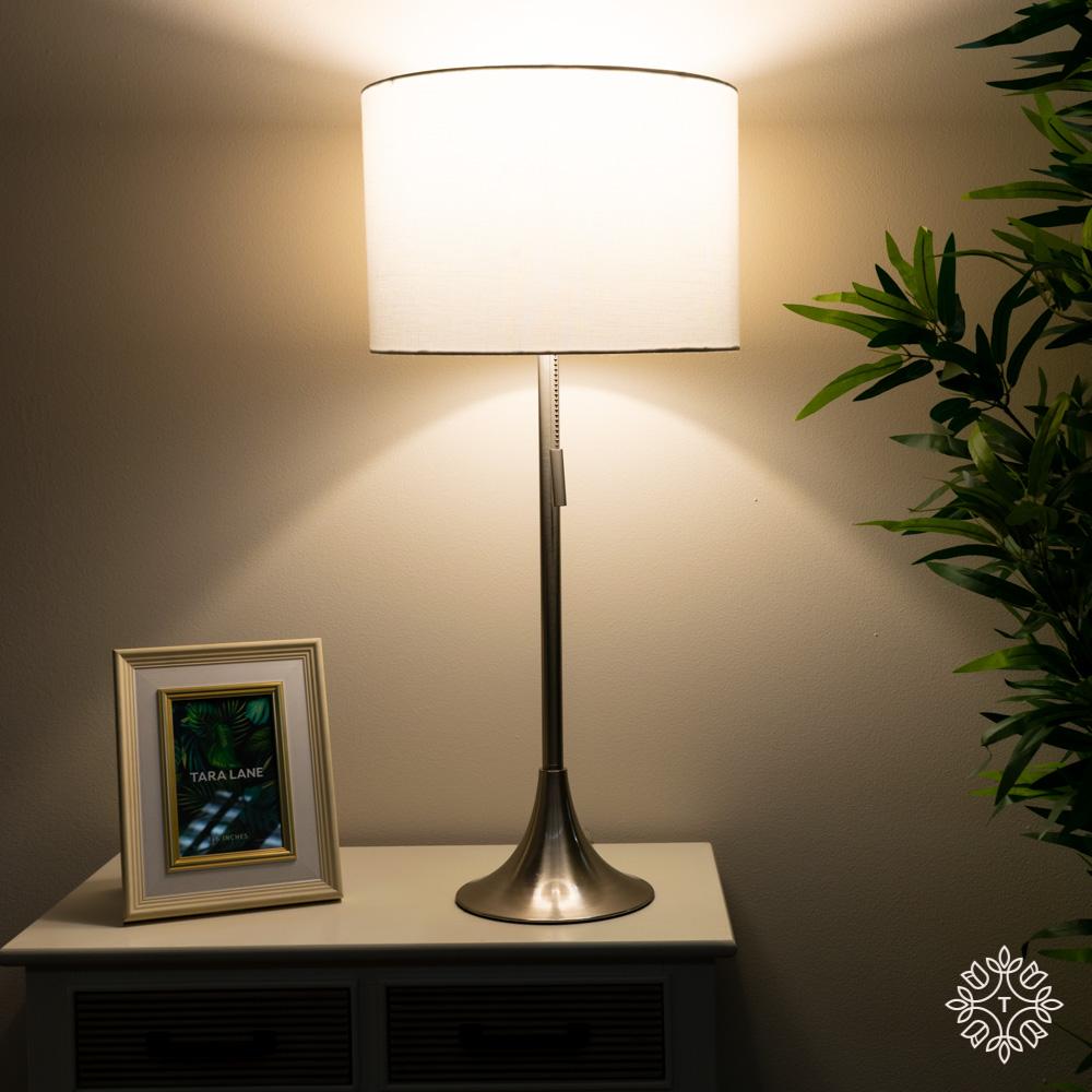 Zaria table lamp satin silver 68cm