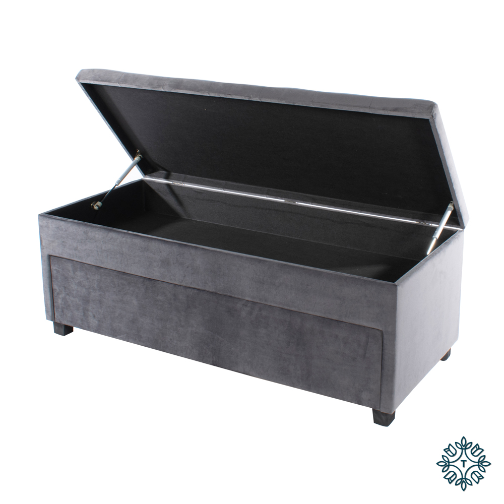 Velvet shoe trunk charcoal grey
