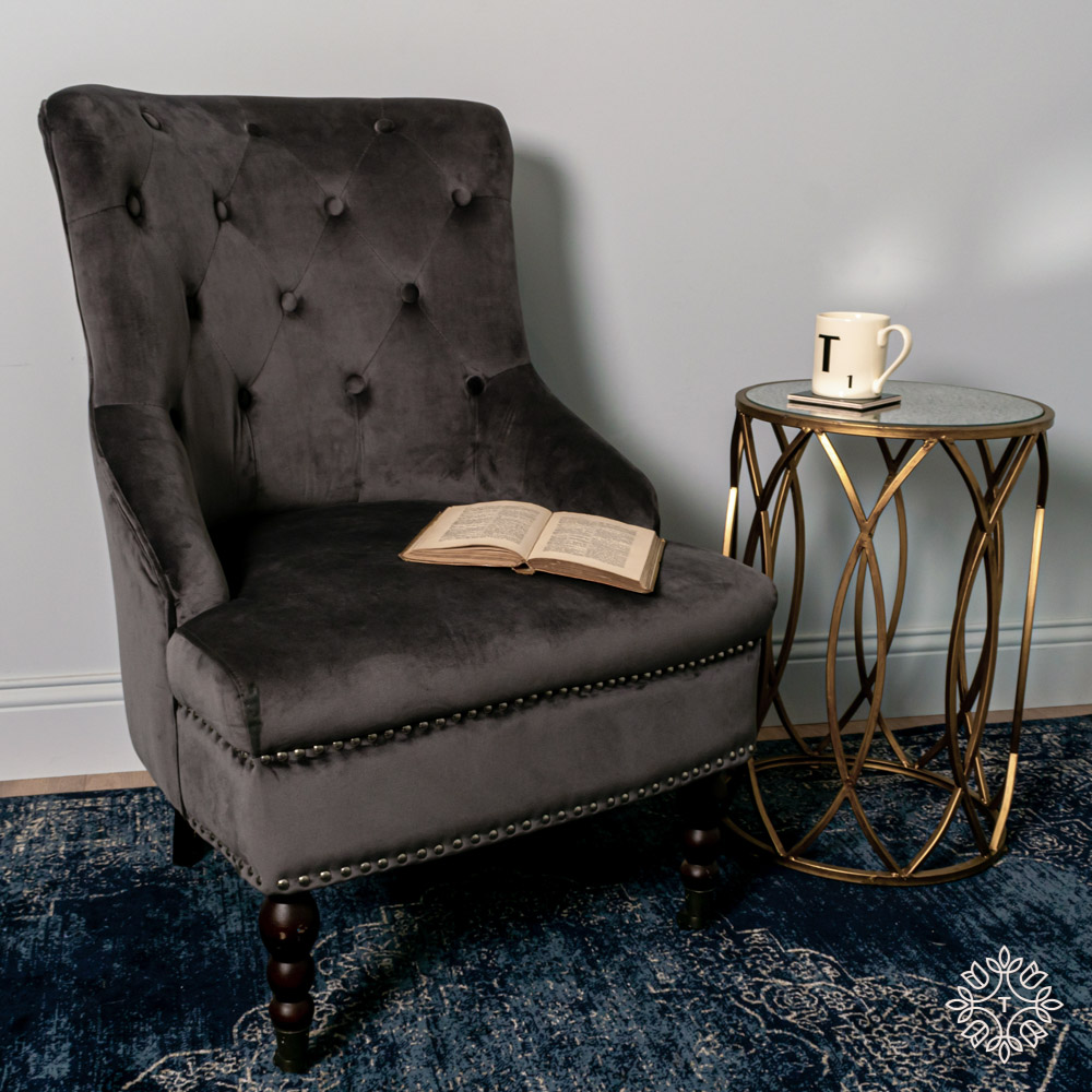 Torino accent chair charcoal smooth velvet