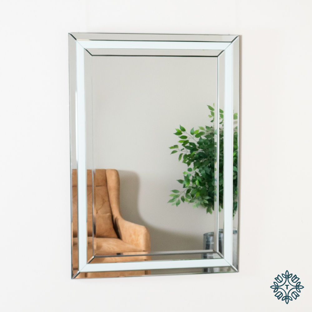 Freya rectangular mirror bevelled white