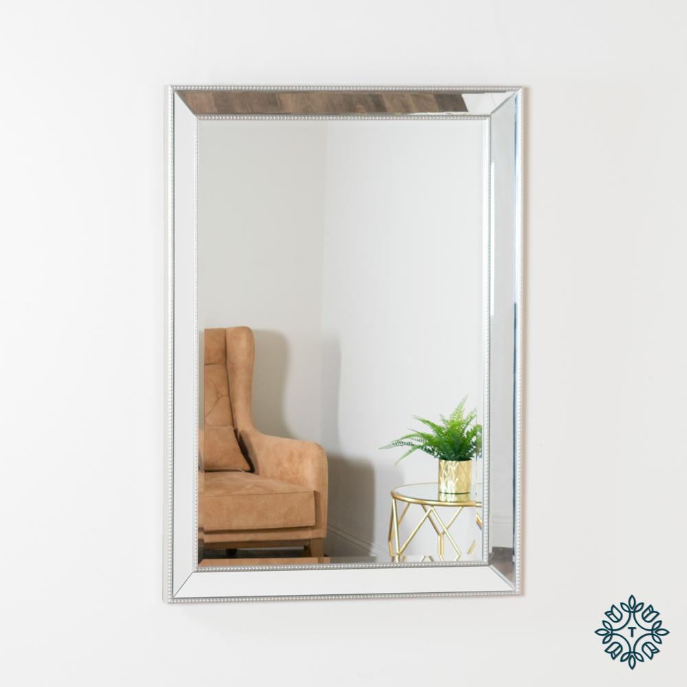 Natalie beaded rectangular mirror silver