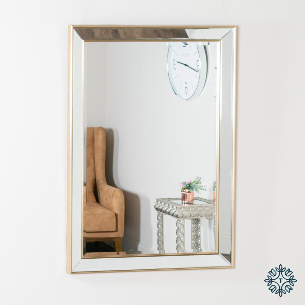 Lydia rectangular mirror champagne