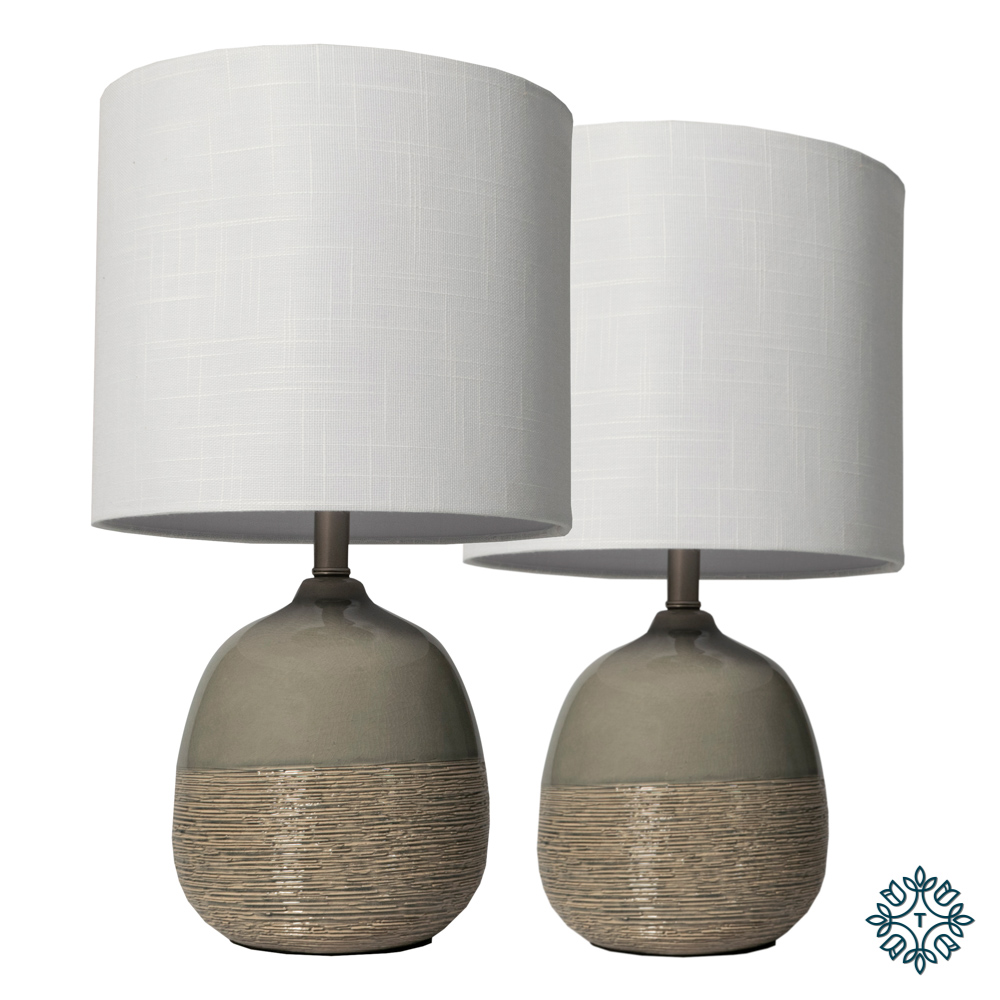 Set of 2 lamps white linen shade