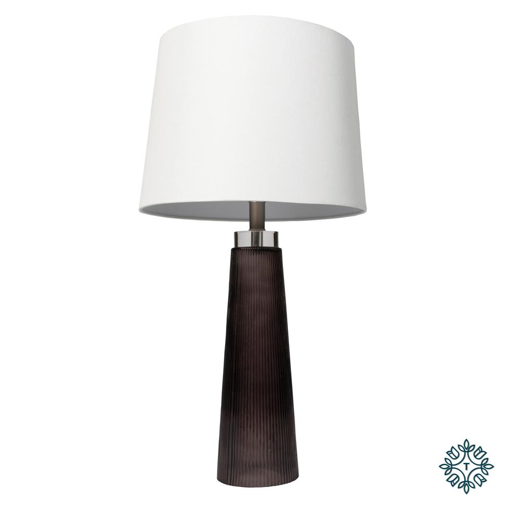 Diablo glass table lamp white linen shade
