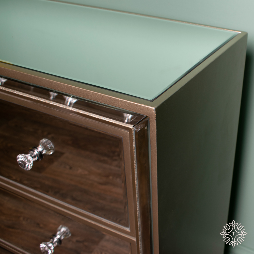 Kendra three-drawer mirrored dresser
