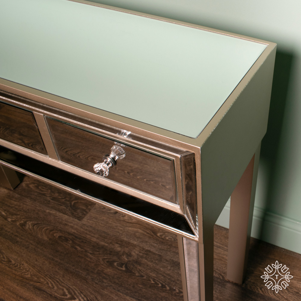 Kendra three-drawer mirrored console