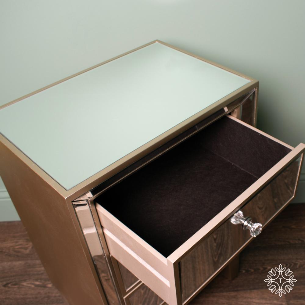 Kendra three-drawer mirrored locker