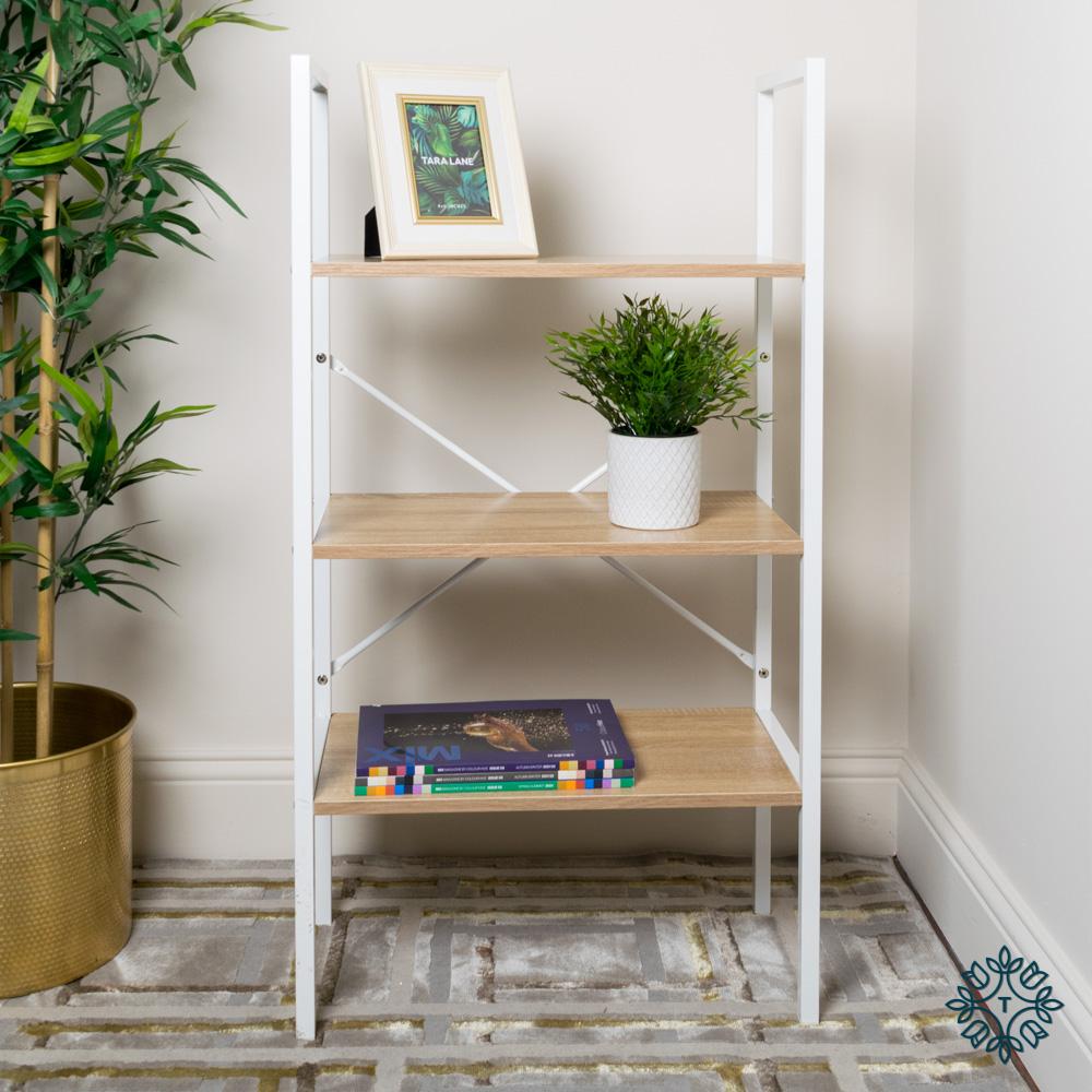 3 tier shelf unit oak with white frame