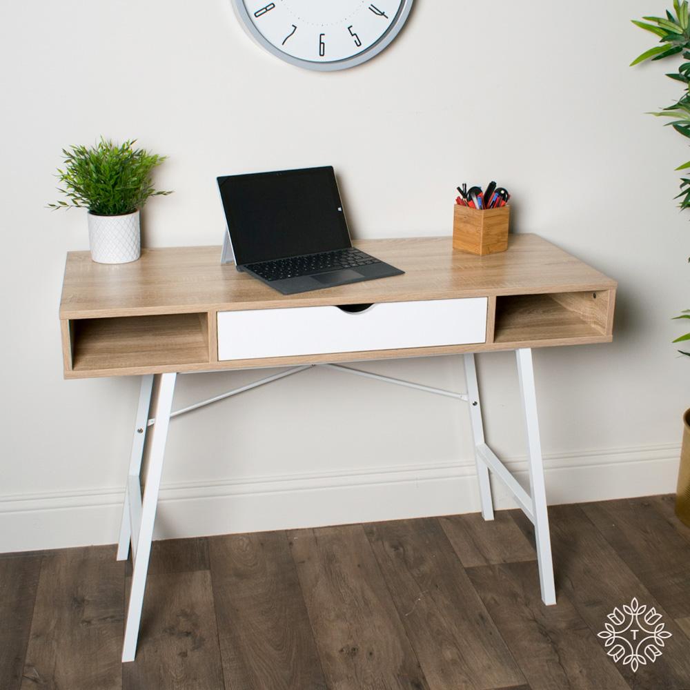 Console desk oak with white frame