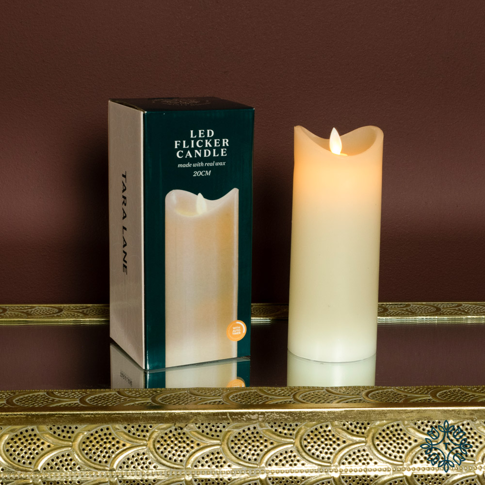 Flicker led candle w/5hr timer ivory 20cm