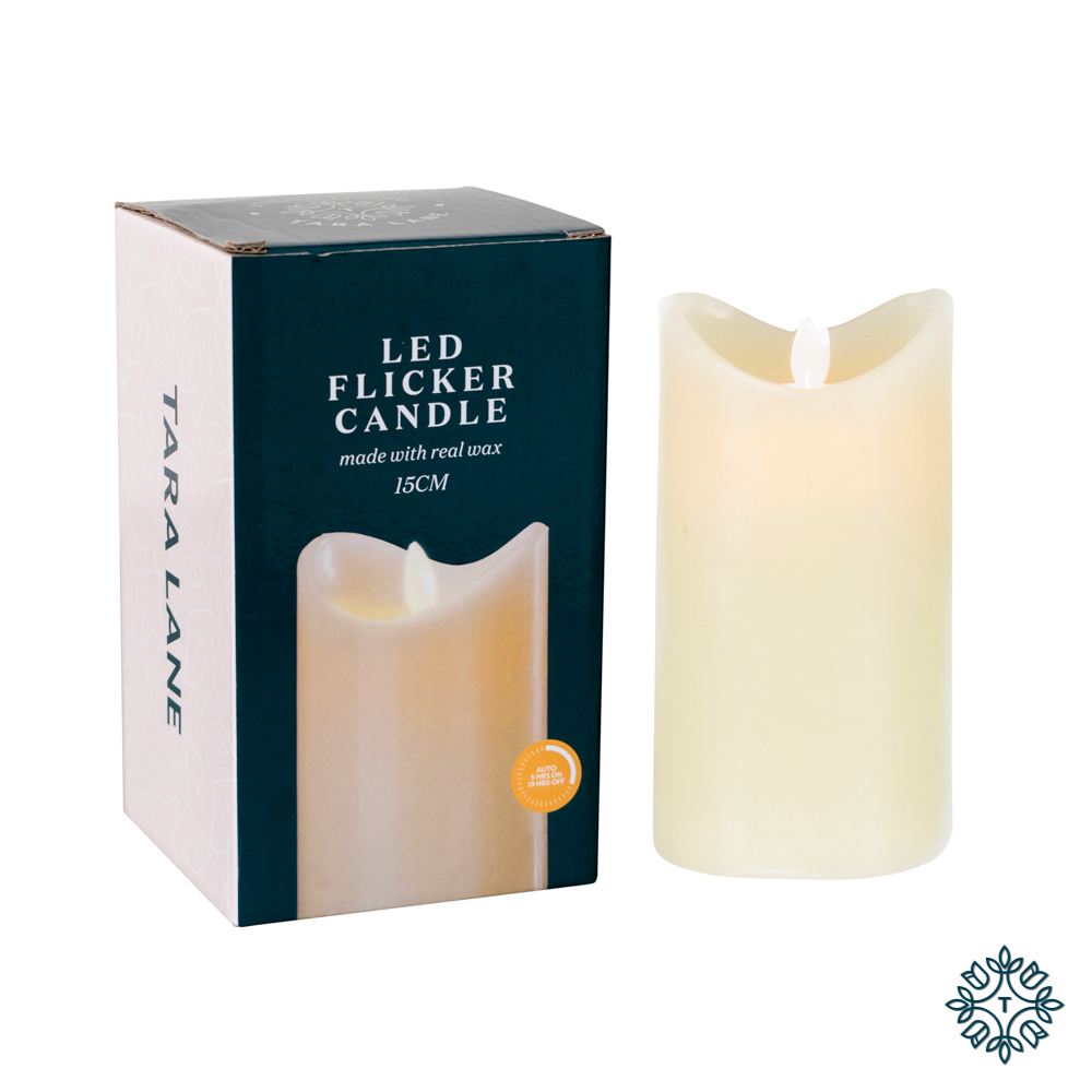 Flicker led candle w/5hr timer ivory 15cm
