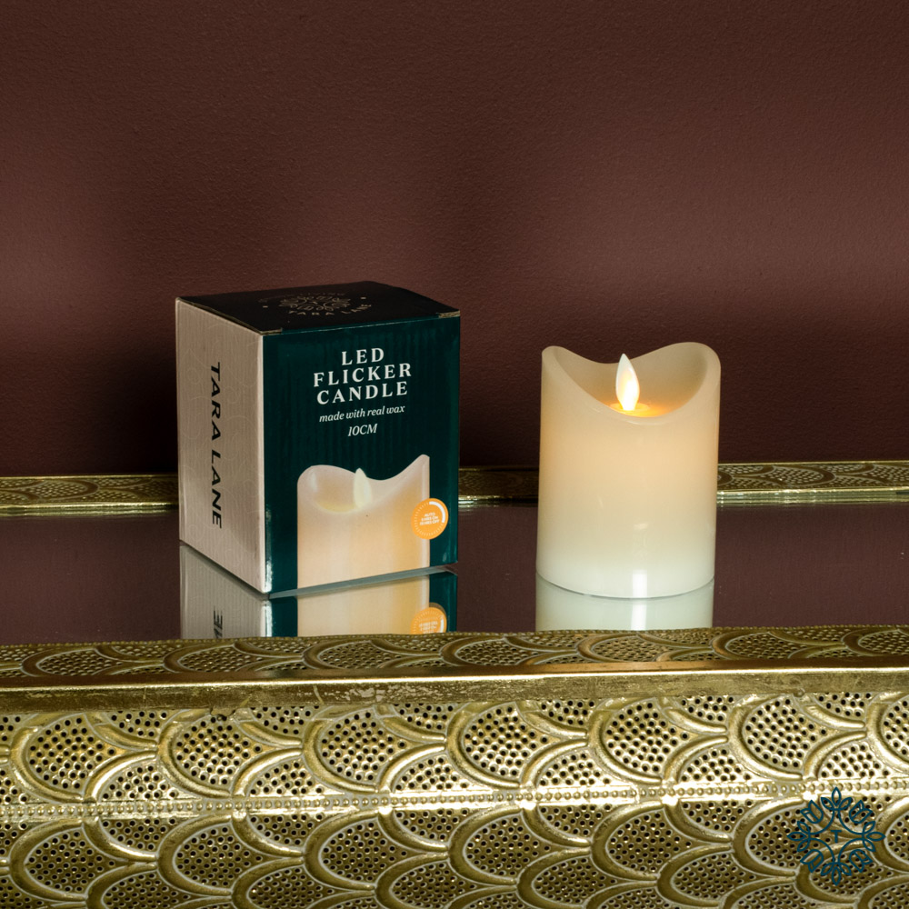 Flicker led candle w/5hr timer ivory 10cm