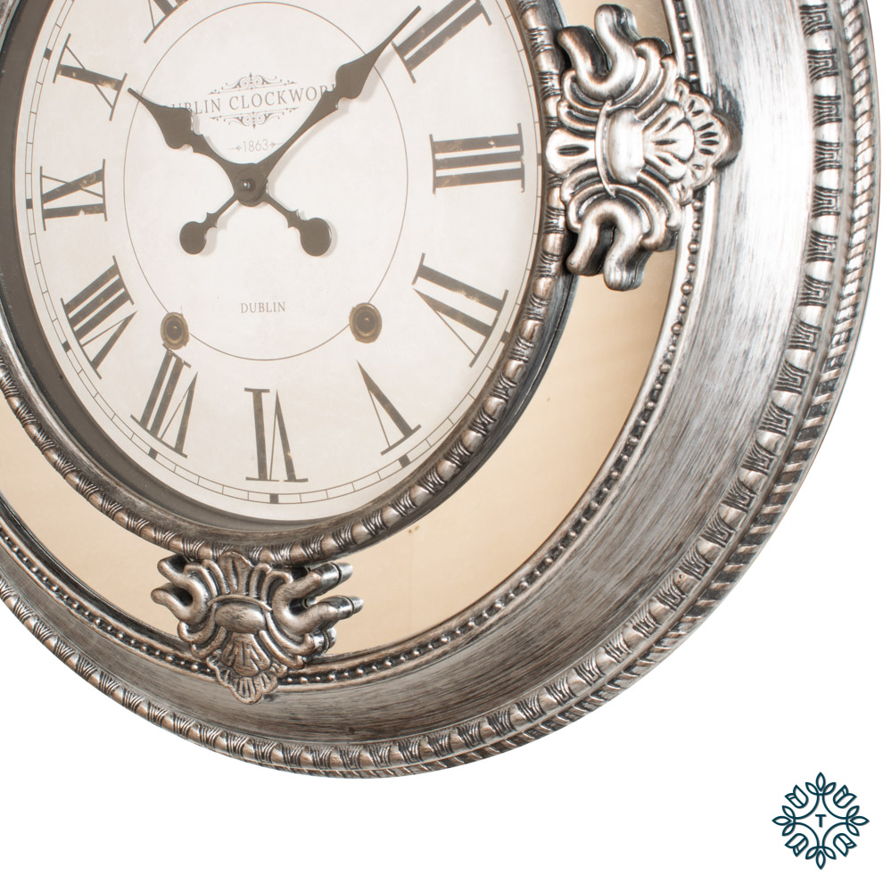 Dublin clockworks mirrored clock 66cm antique silver